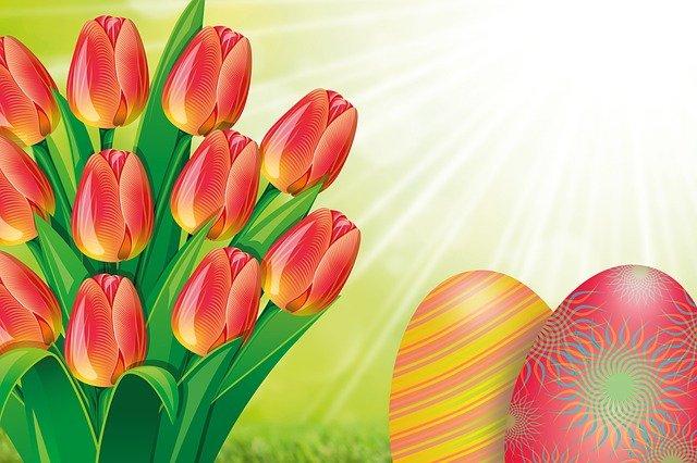 kytice tulipánů a velikonoční vajíčka